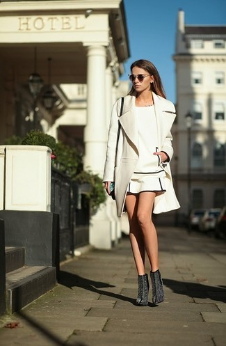 Sequin Dress White Coat