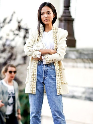 How to wear: white tweed coat, white crew-neck t-shirt, light blue boyfriend jeans, white embroidered clutch