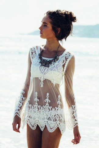 How to wear: white lace cover-up, yellow bikini top, yellow bikini pant, black necklace