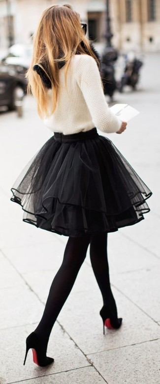 dc10b63cc7 RED Valentino Lace Trimmed Tiered Tulle Skirt Black, $279 | Last ...