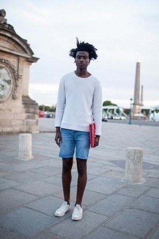 How To Wear Light Blue Denim Shorts With White Sneakers In Your 20s For Men: Reach for a white crew-neck sweater and light blue denim shorts to create a seriously dapper and current laid-back outfit. Dial up this whole getup by finishing with white sneakers.