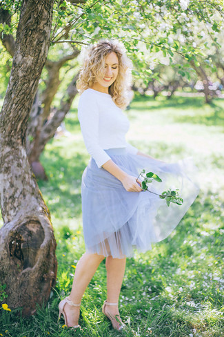 How to wear: white crew-neck sweater, light blue tulle full skirt, beige leather heeled sandals