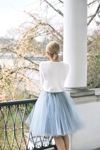 How to wear: white crew-neck sweater, light blue tulle full skirt