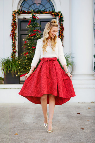 How to wear: white fluffy crew-neck sweater, red full skirt, gold leather pumps, gold bracelet