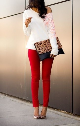 Women's White Crew-neck Sweater, Red Skinny Jeans, Silver Leather Pumps, Tan Leopard Leather Clutch