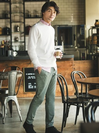 How to wear: white crew-neck sweater, white and red vertical striped long sleeve shirt, olive chinos, black suede desert boots