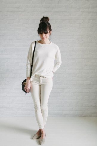 Consider teaming a white crew-neck pullover with white skinny jeans for a refined yet off-duty ensemble. A pair of ballerina shoes will seamlessly integrate within a variety of outfits.