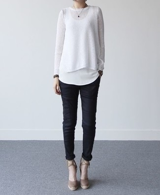 Dress in a white crew-neck sweater and black skinny pants to show off your styling savvy. And if you want to instantly up the style of your look with one piece, add Givenchy Suede Pointed Toe Pumps to the mix. We promise this look is the answer to all of your spring dressing problems.