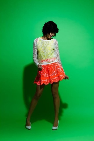 How to wear: white lace crew-neck sweater, yellow tank, red print a-line skirt, light blue suede pumps