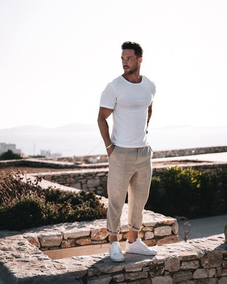 How to wear: white crew-neck t-shirt, beige linen chinos, white leather low top sneakers, silver bracelet