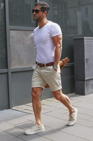 Men's White Crew-neck T-shirt, Beige Shorts, Beige Plimsolls, Brown Woven Leather Belt