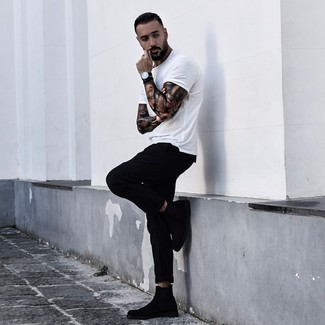 How to wear: white crew-neck t-shirt, black chinos, black suede chelsea boots, black leather watch