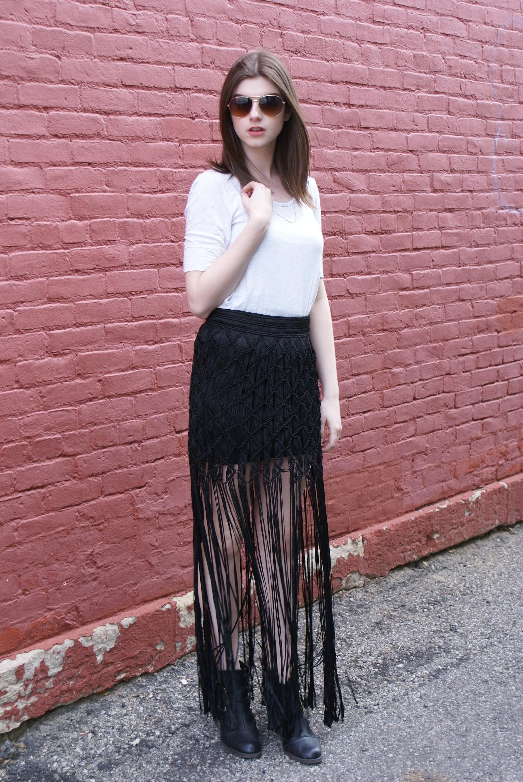 s white crew neck t shirt black fringe maxi skirt