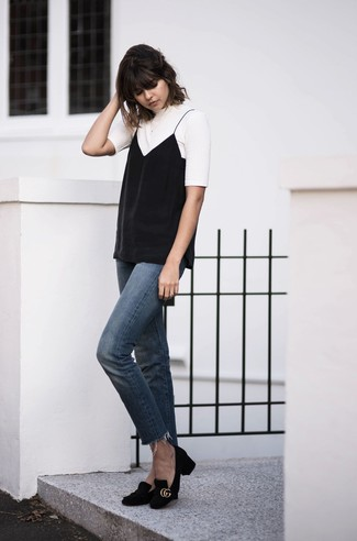 How to wear: white crew-neck t-shirt, black tank, blue jeans, black suede pumps