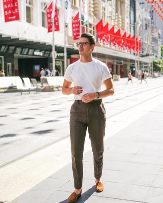 How to wear: white crew-neck t-shirt, brown linen dress pants, tobacco suede loafers