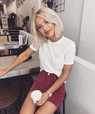 How to Wear a Burgundy Mini Skirt (67 looks   outfits)  0b8c64a08