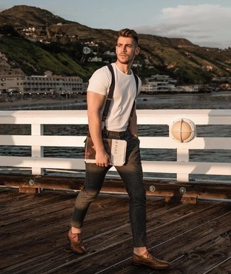 Suspenders Outfits: Infuse a casual touch into your daily styling rotation with a white crew-neck t-shirt and suspenders. For something more on the sophisticated end to finish off your outfit, complete this outfit with brown leather brogues.