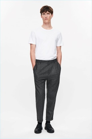How to wear: white crew-neck t-shirt, charcoal wool dress pants, black leather slip-on sneakers, black socks