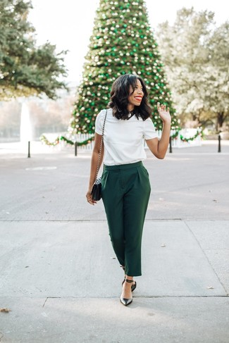 How to wear: white crew-neck t-shirt, dark green tapered pants, black leather pumps, black quilted leather crossbody bag