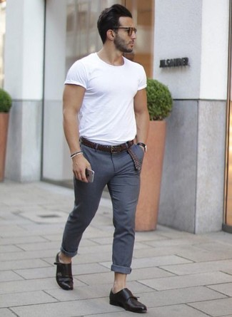 Men S White Crew Neck T Shirt Grey Chinos Black Leather Double