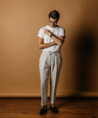 How to wear: white crew-neck t-shirt, grey linen chinos, black leather loafers