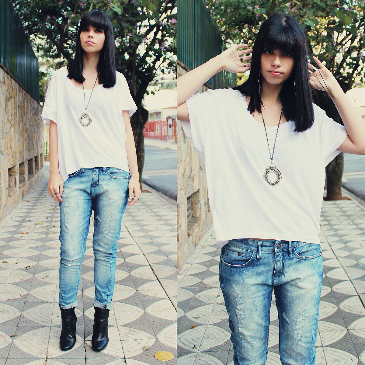 Black t shirt light blue jeans - Make A White Crew Neck Tee And Light Blue Jeans Your Outfit Choice To Effortlessly