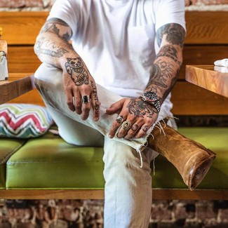 How to wear: white crew-neck t-shirt, light blue jeans, brown suede cowboy boots