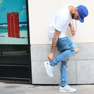 Men's White Crew-neck T-shirt, Light Blue Ripped Jeans, Grey Athletic Shoes, Blue Baseball Cap