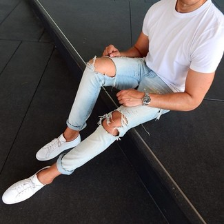 How to wear: white crew-neck t-shirt, light blue ripped jeans, white leather low top sneakers, silver watch