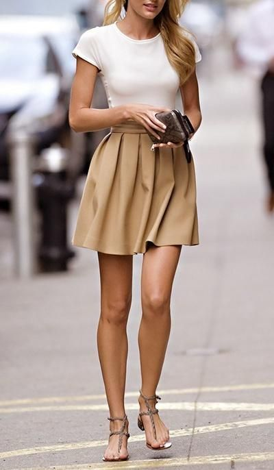 How to Wear a Tan Skater Skirt (21 looks   outfits)  c549ca10c