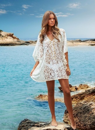How to wear: white crochet cover-up, white bikini pant