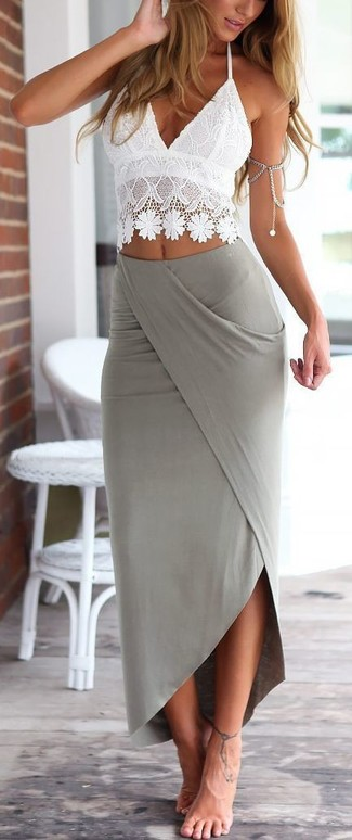 How to wear: white crochet cropped top, grey maxi skirt
