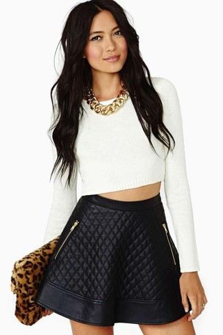 b3a328fee7 Charlotte Russe Quilted Faux Leather Skater Skirt, $22   Charlotte ...