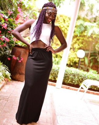 How to wear: white cropped top, black maxi skirt, multi colored headband
