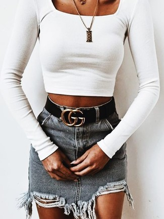 Try teaming a Marc by Marc Jacobs women's Tie Back Crop Top with a grey ripped denim mini skirt, if you want to dress for comfort without looking like you don't care. We can't get enough of this combination for super hot hot weather afternoons.