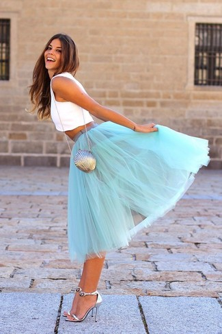 How to wear: white cropped top, light blue tulle full skirt, silver leather heeled sandals, silver clutch