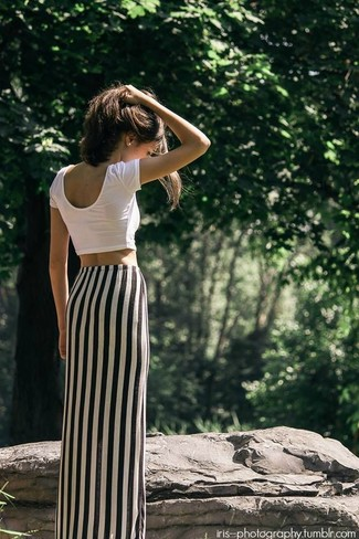 Black and white vertical striped maxi dress