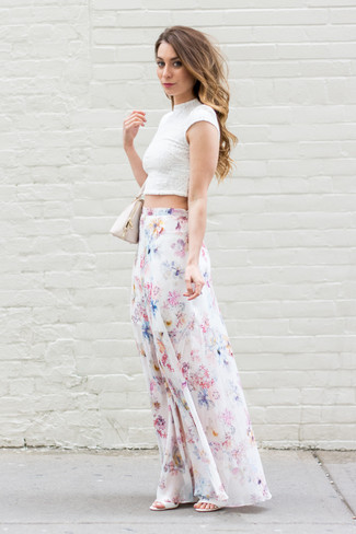How to wear: white lace cropped top, white floral maxi skirt, white leather heeled sandals, beige leather handbag
