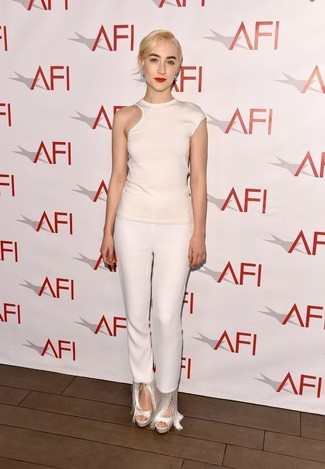 How to wear: white cutout crew-neck t-shirt, white fringe skinny pants, white leather heeled sandals