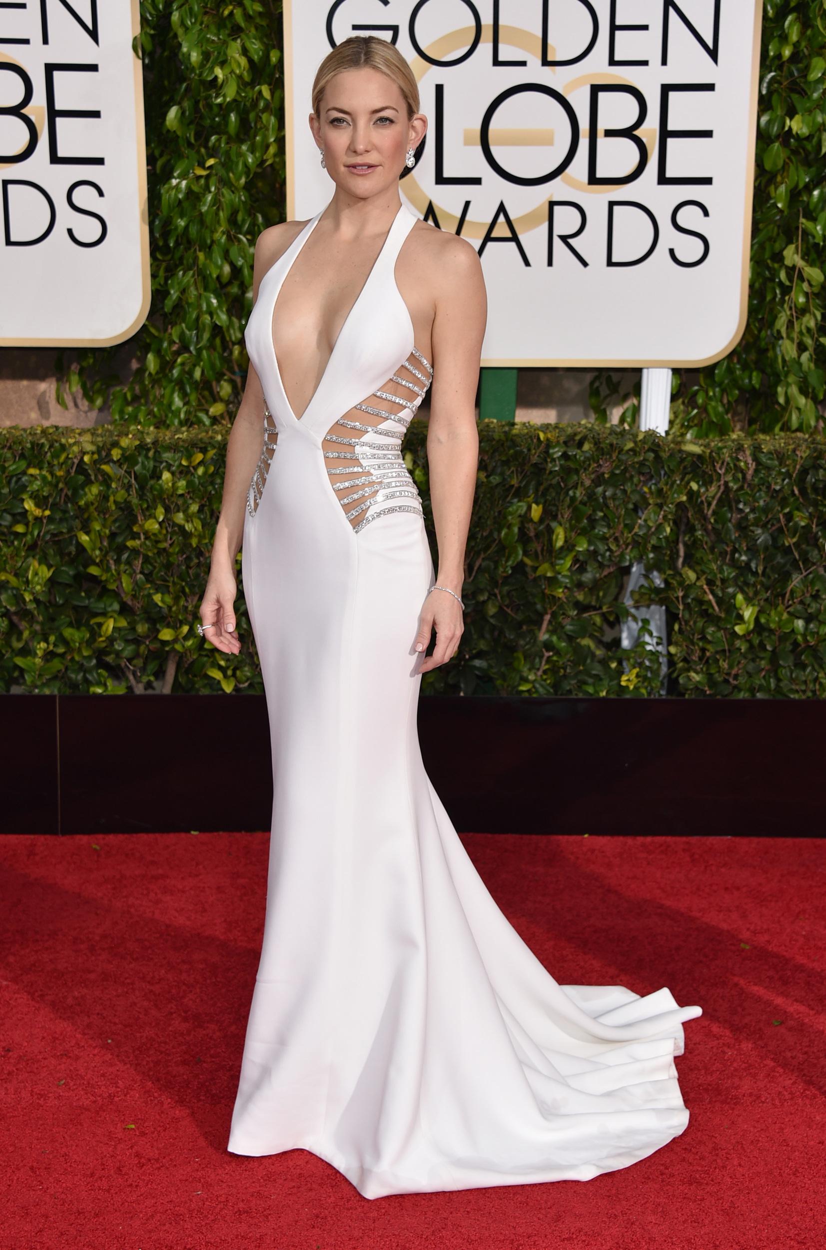 Kate Hudson wearing White Cutout Evening Dress, Silver Earrings ...