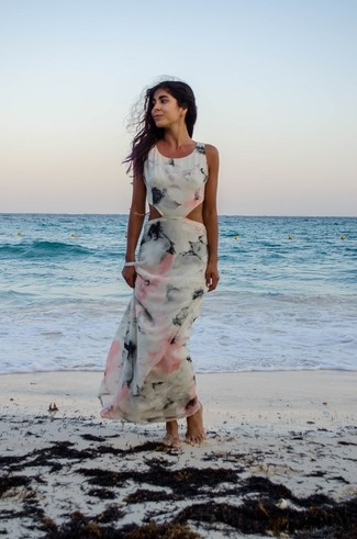 Women's White Cutout Maxi Dress