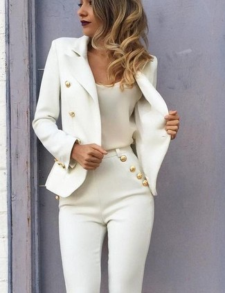 How to wear: white double breasted blazer, white silk tank, white skinny pants