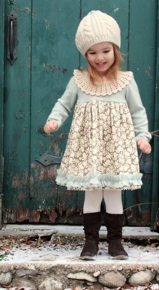 How to wear: white lace dress, black boots, white beanie, white tights