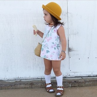 How to wear: white floral dress, dark brown sandals, mustard hat, white socks