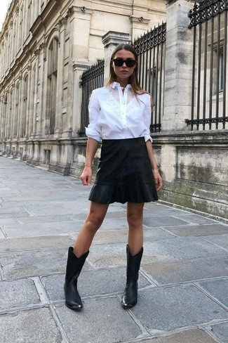 Women's Looks & Outfits: What To Wear In 2020: This relaxed casual combo of a white dress shirt and a black leather mini skirt is a safe option when you need to look nice in a flash. Add black leather cowboy boots to your ensemble to bring a sense of casualness to your outfit.