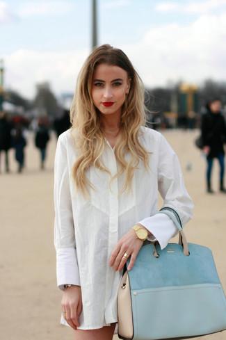 Women S White Dress Shirt Black Mini Skirt Light Blue Leather Tote Bag Gold Watch Fashion