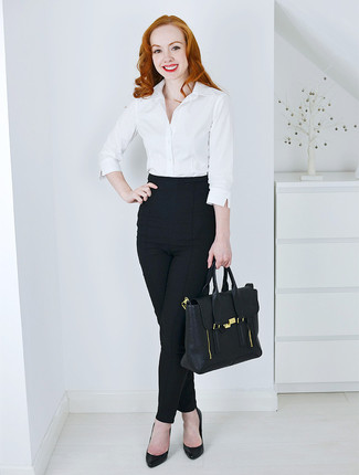 Women's White Dress Shirt, Black Skinny Pants, Black Leather Pumps, Black Leather Satchel Bag