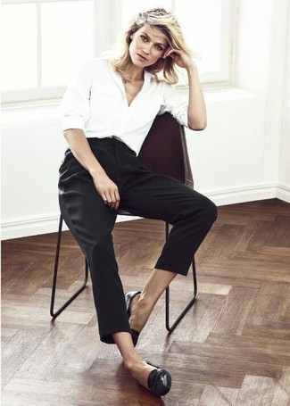 How to wear: white dress shirt, black tapered pants, black leather loafers