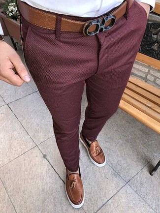 How to wear: white dress shirt, burgundy chinos, brown leather tassel loafers, brown leather belt