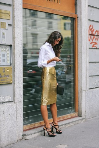 Reach for a white oxford shirt and a gold pencil skirt and you'll look stunning anywhere anytime. Black suede heeled sandals are a wonderful choice to complete the look.